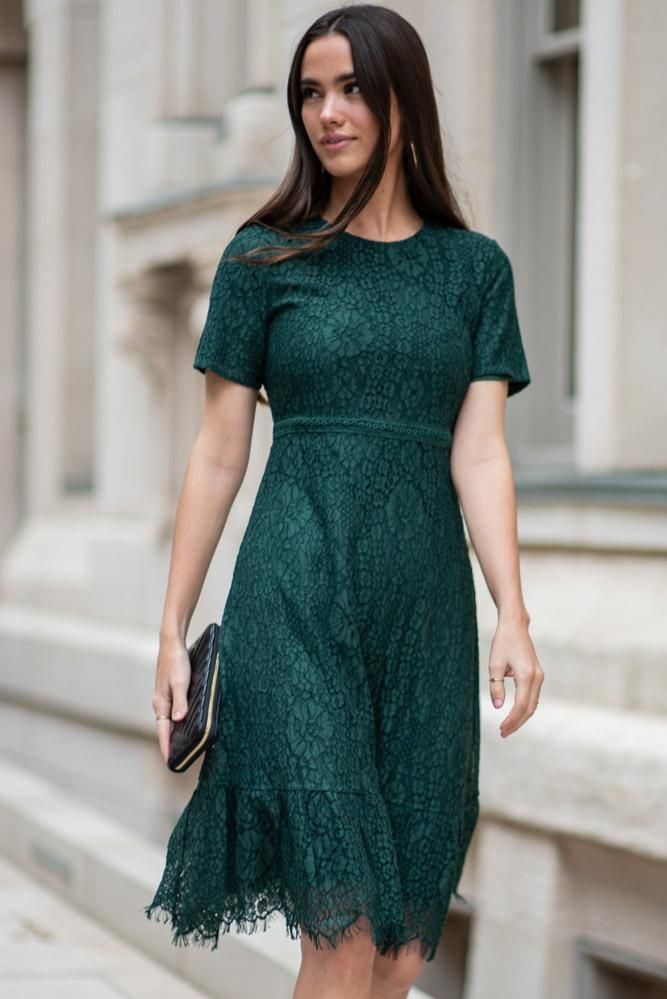 Lace Midi Dress in Emerald -   17 dress Green vintage ideas