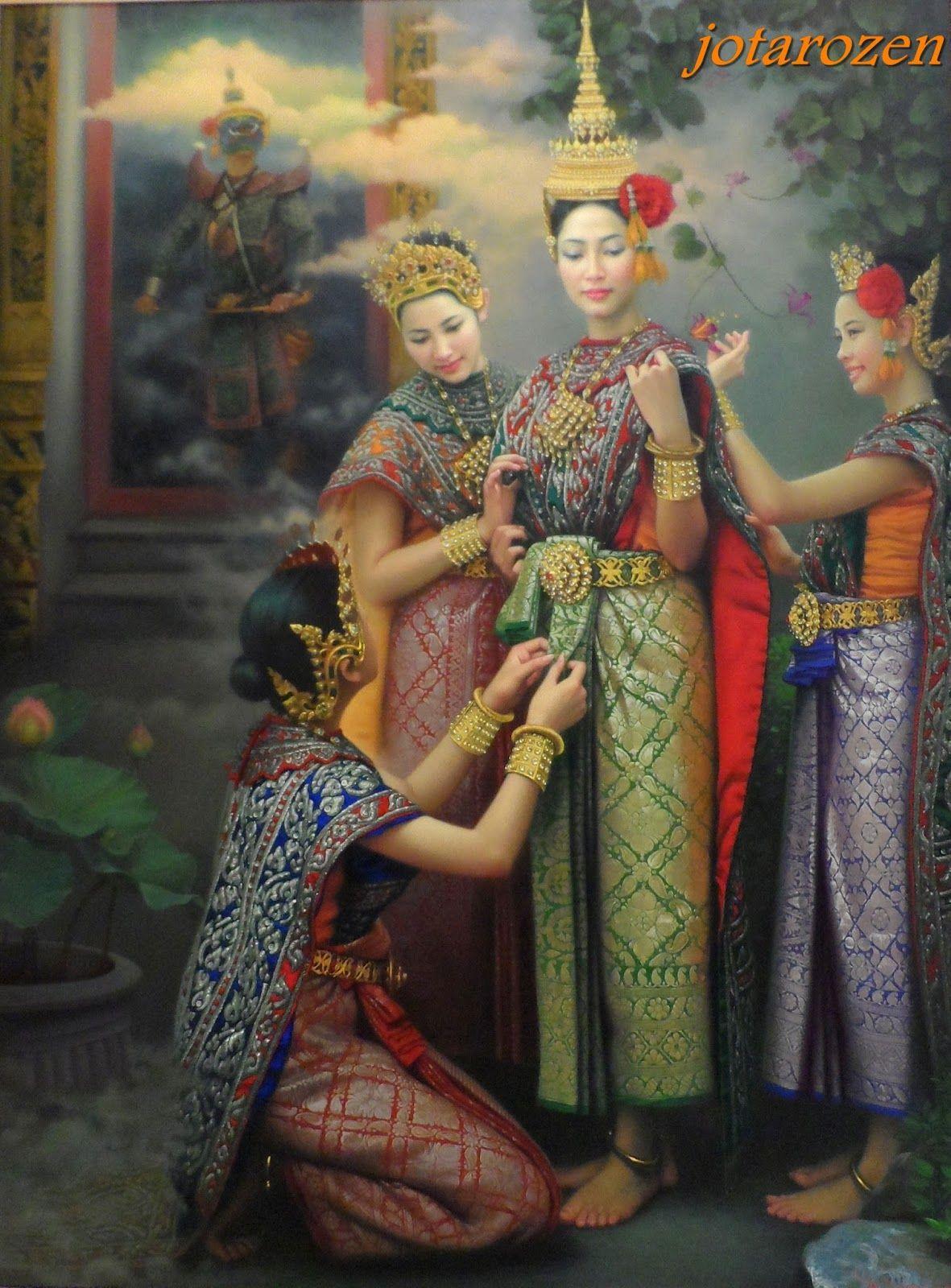 Beauty Ladies of Thailand Oil Painting Thai art