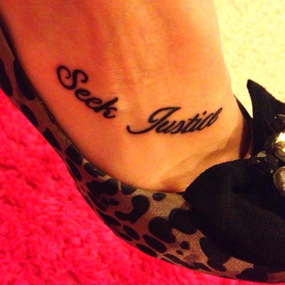 Seek Justice. Foot Tattoo. Law Enforcement.