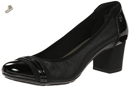 Anne Klein Sport Women's Guardian Leather Dress Pump, Black, 9 M US.  Ballet-style look atop block heel featuring high-shine toe and heel caps.