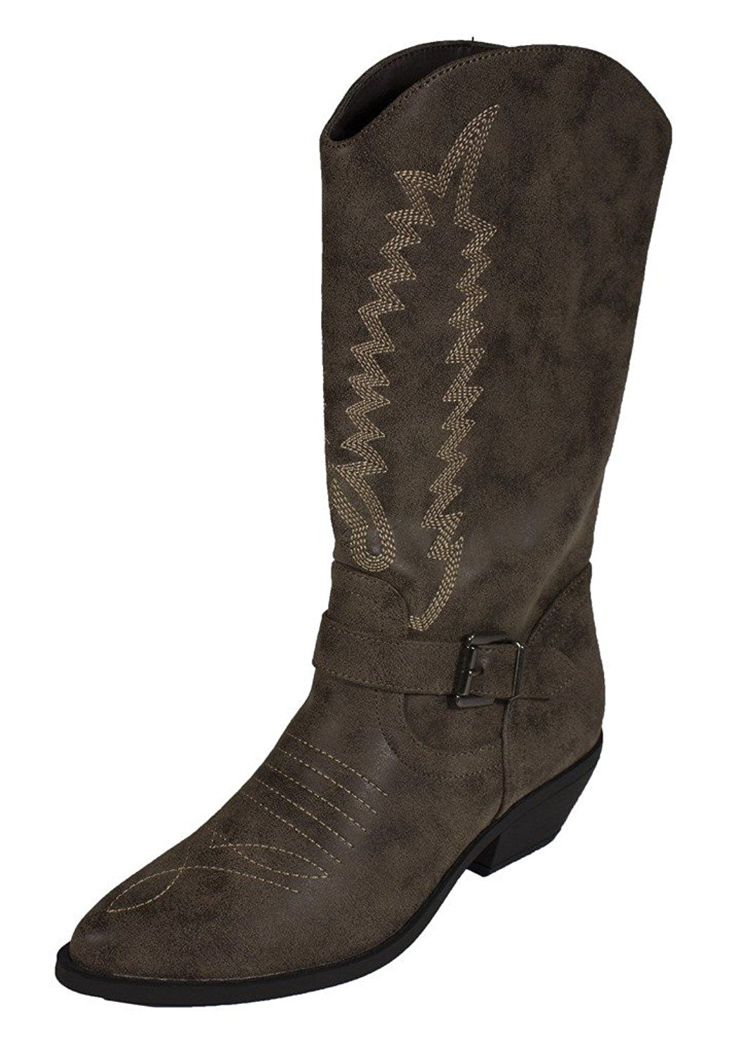 Women's Zoning Mid Calf Western Cowboy Wing Stitched Side Buckle Boots in Camel Leatherette