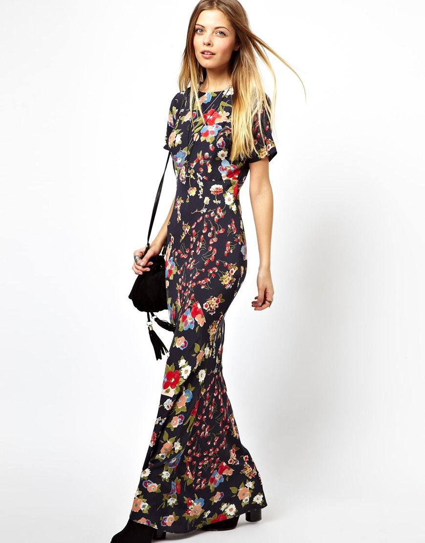 Asos Maxi Dress In 90s Grunge Fl Print At