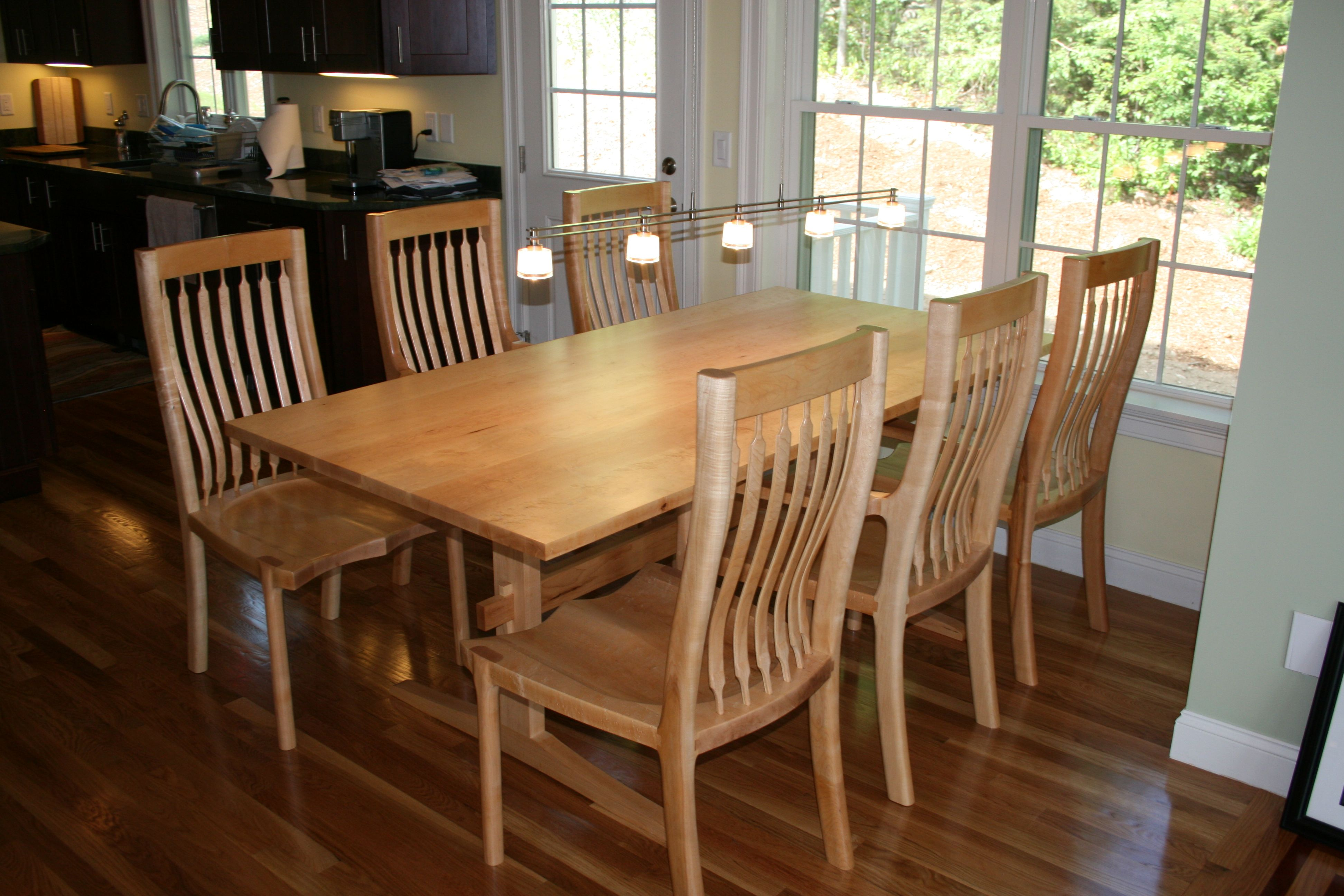 Sculpted Dining Room Table And Chairs From Vermont Furniture Maker Kit Clark Maple Handmade
