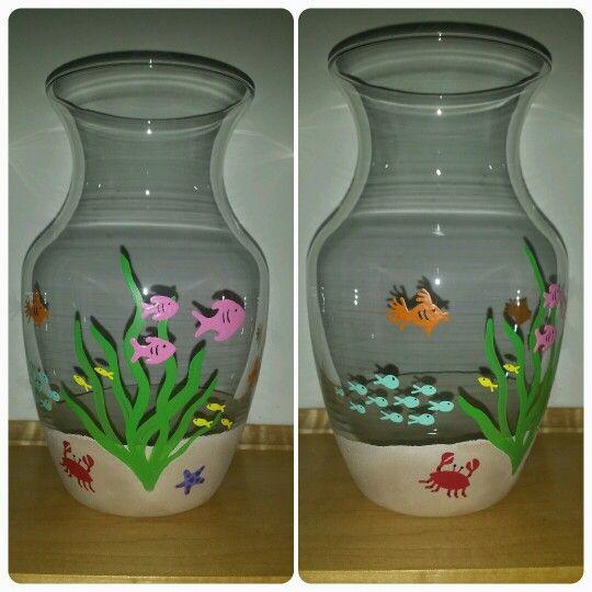 Under The Sea Vase Hand Painted Glassware Pinterest