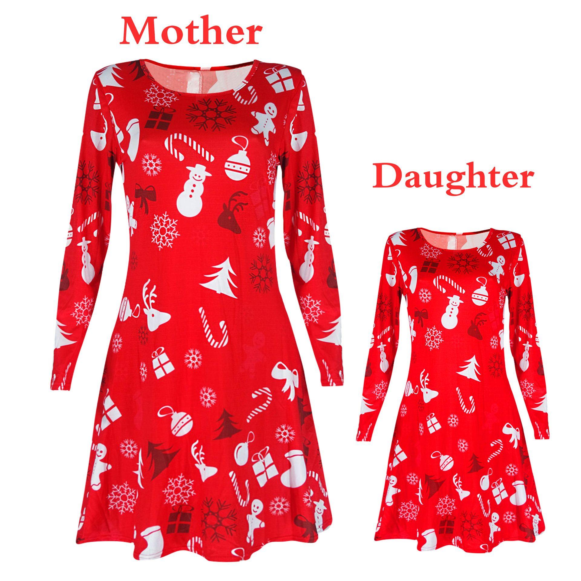 Xmas Family Matching Clothes Mother Daughter Long Sleeve Dress Women Girls Dress