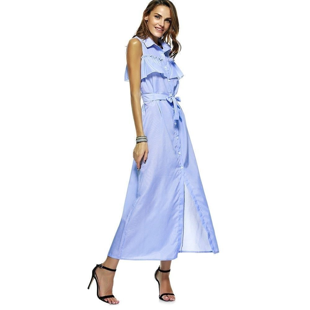 Blue color striped casual long turndown collar maxi dress for women