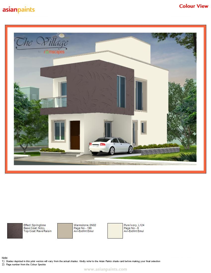Texture spring time painted with 0n02 warm stone highlight 0n02 warm stone main building - Asian paints exterior colour combinations plan ...