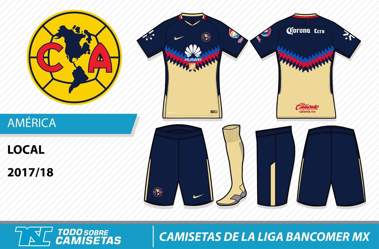 3d718c1c446 Camisetas de la Liga MX 2017-18 - Club América | Soccer • Club ...