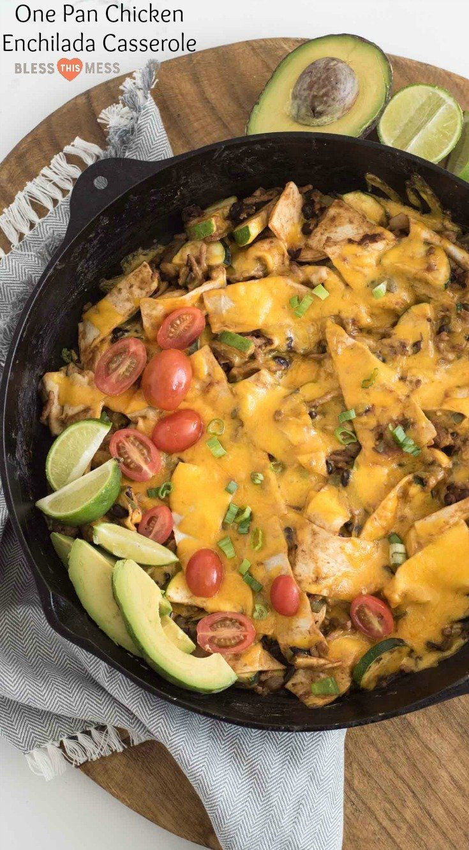 One Pan Chicken Enchilada Casserole Recipe | Simplest Mexican Dinner #onepandinnerschicken