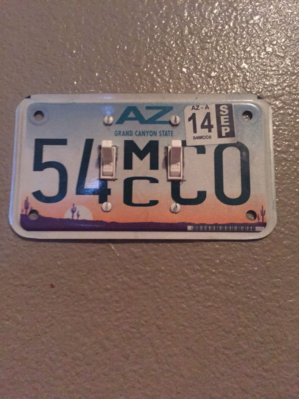My husband turned a motorcycle license plate into a light switch ...