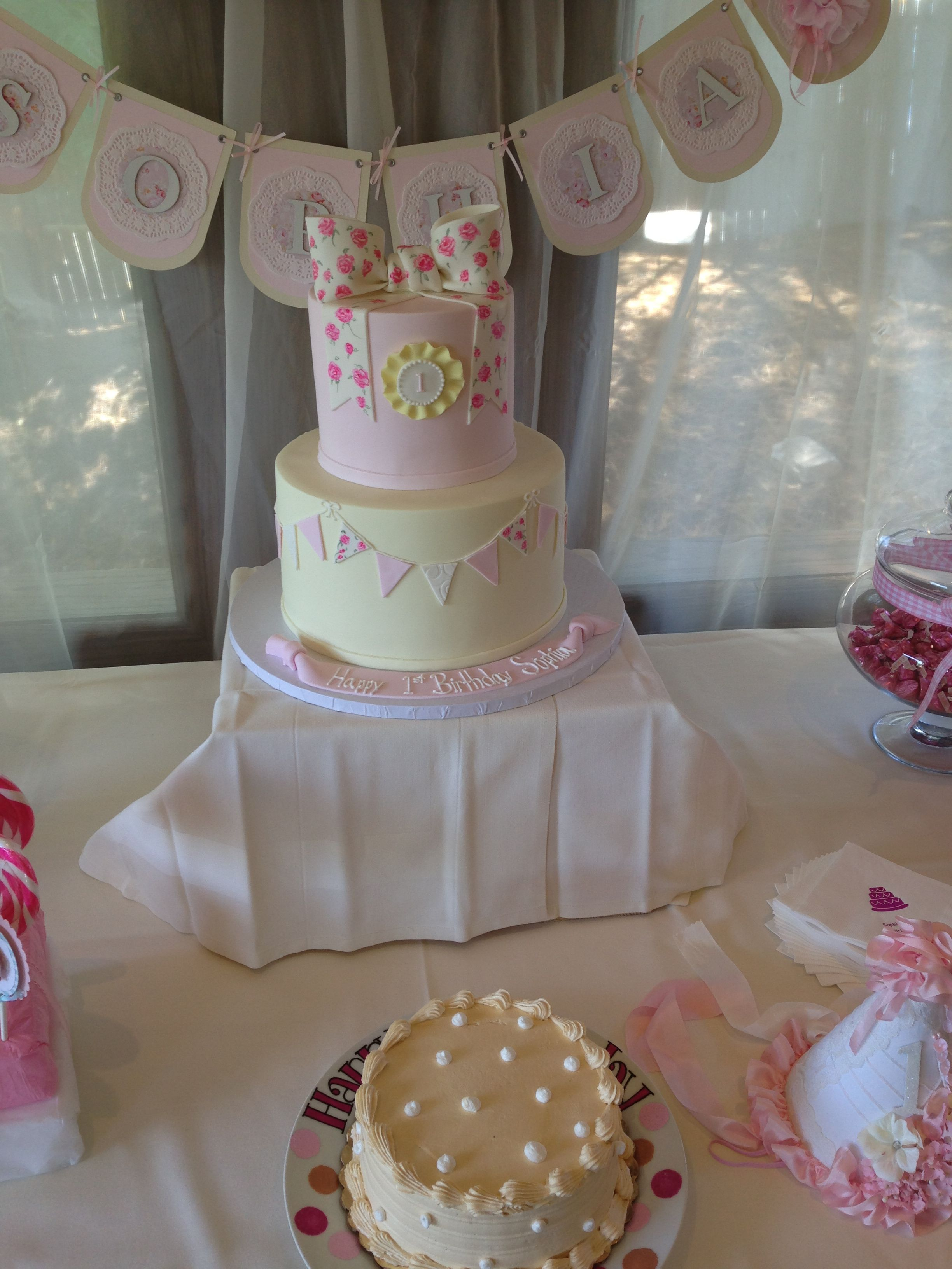 Shabby Chic Birthday Cake 1st Birthday Party Pinterest Birthdays