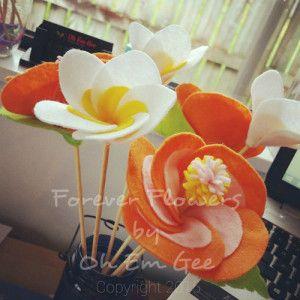 Hand Made Felt Flowers Frangipani Hibiscus Made In Nz Oh Em