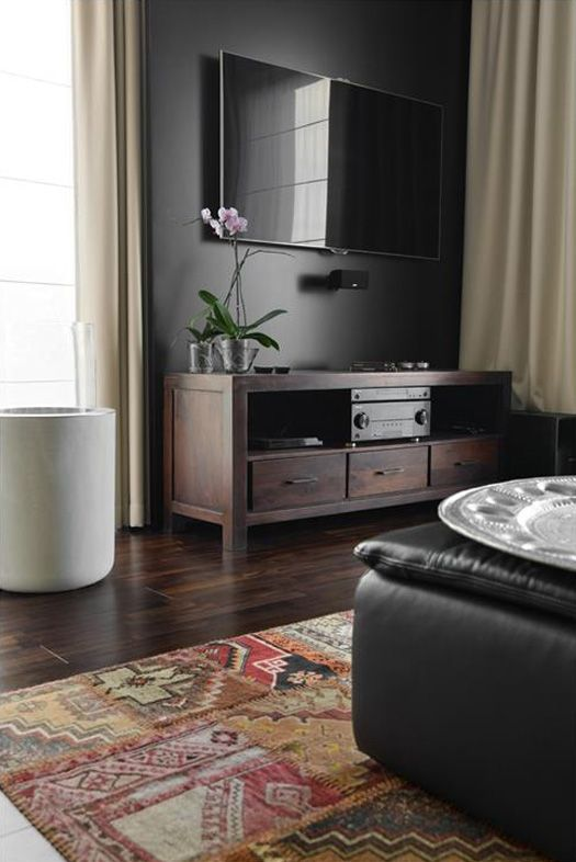 How To Design Around A Television Studio Mcgee Paint The Wall Behind It Dark Painting Our Little Nook Next We Black Walls Wall Behind Tv Family Room Design