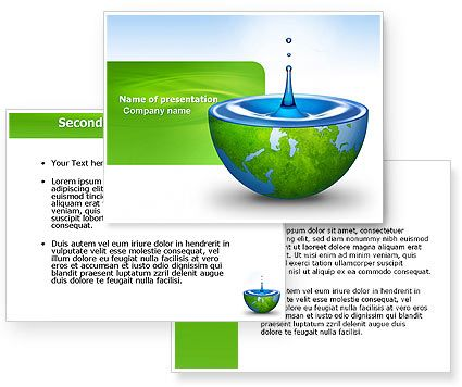 blue water of a green planet powerpoint template with blue water, Presentation templates