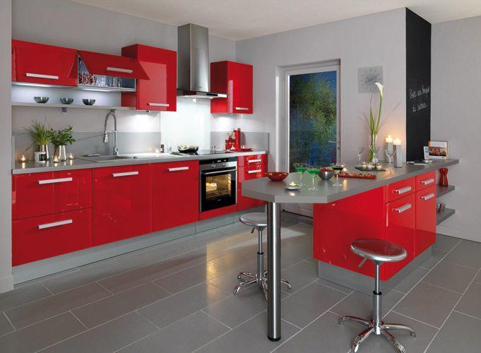 La cuisine rouge Cocinas, Cocina pequeña y Ayudar