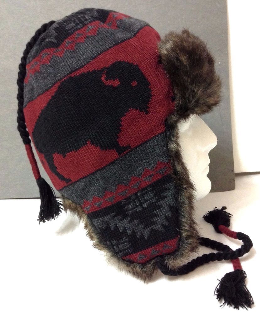 88bc6acf498a8 NEW Mens BUFFALO KNIT FAUX-FUR PERUVIAN HAT Winter Beanie Native American  Indian  Mossimo  AviatorTrapper