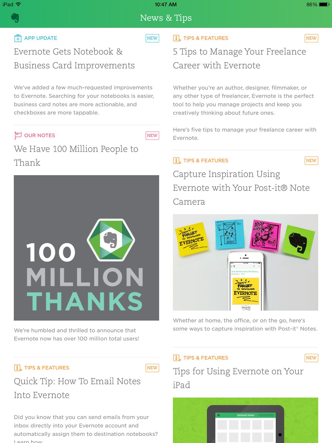Evernote Mobile app design, Mobile app, App