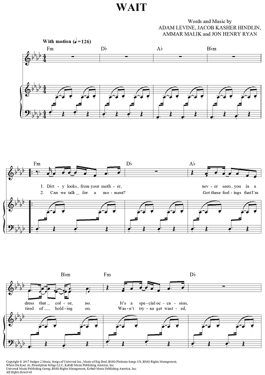 Wait Sheet Music by Maroon 5 | Sheet music, Pianos and Music music
