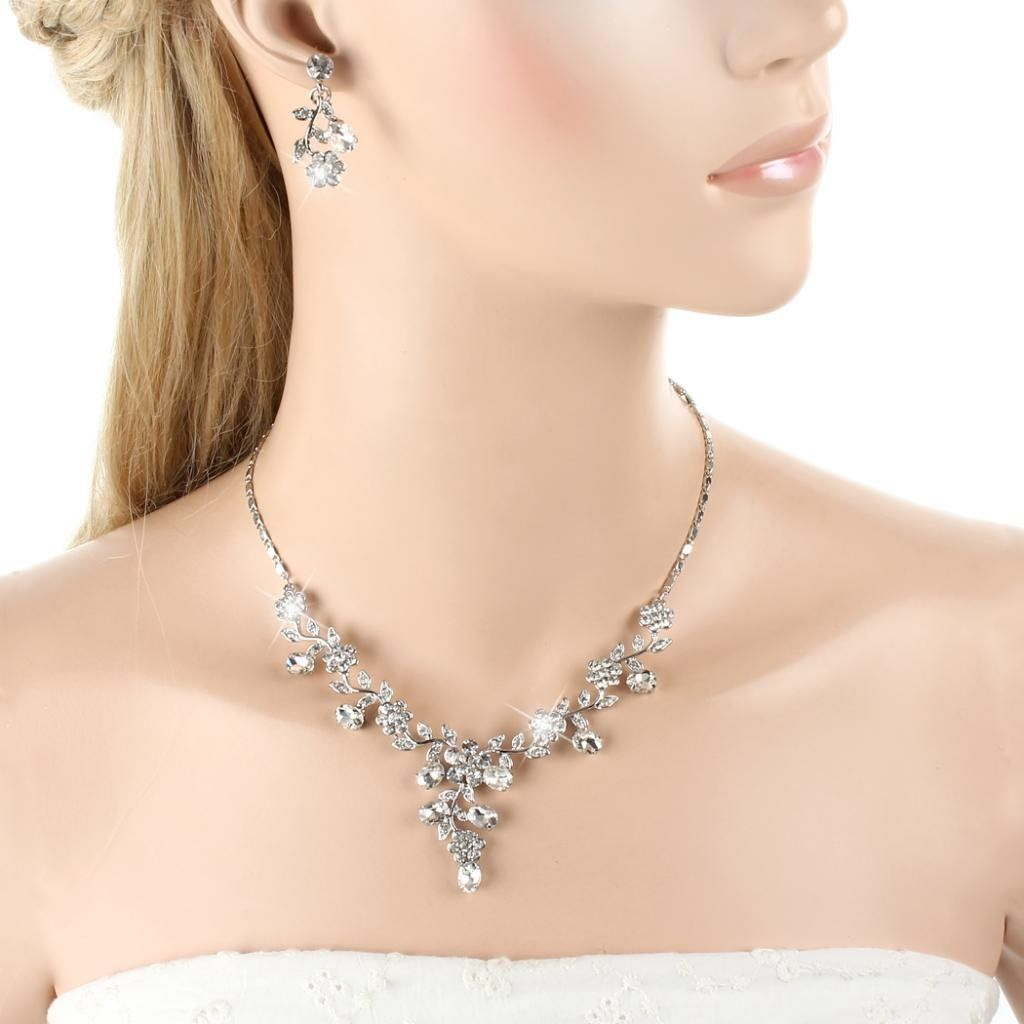 EVER FAITH Wedding Leaf Vine Necklace Earrings Set Clear Austrian Crystal