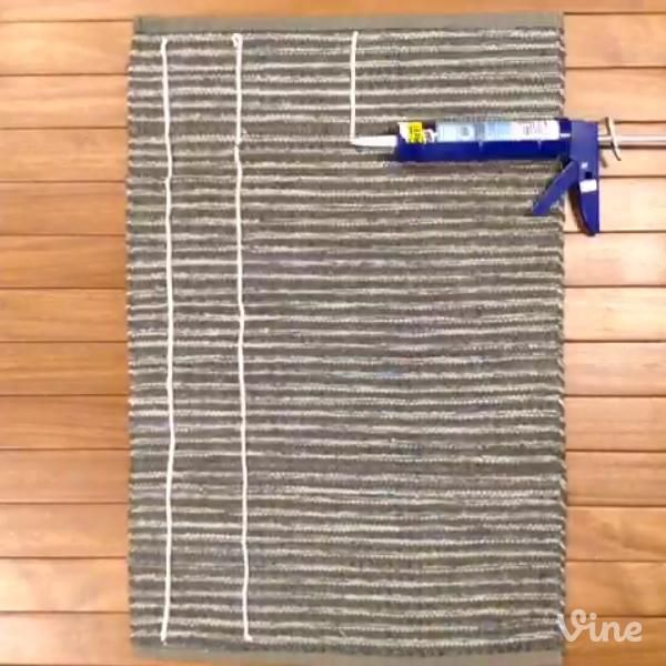 Does your rug slip and slide? Use caulk to make it stay put. #vine #lowesfixinsix