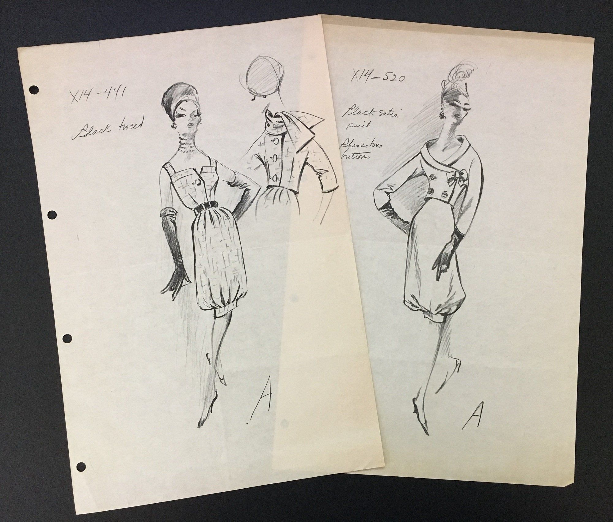 2 Vintage Fashion Designer Sketches Stat Sheet Drawing Dior Haute Couture Dress X14 441 X14 520 Cardinal Fashion Fashion Design Vintage Fashion Fashion Studio