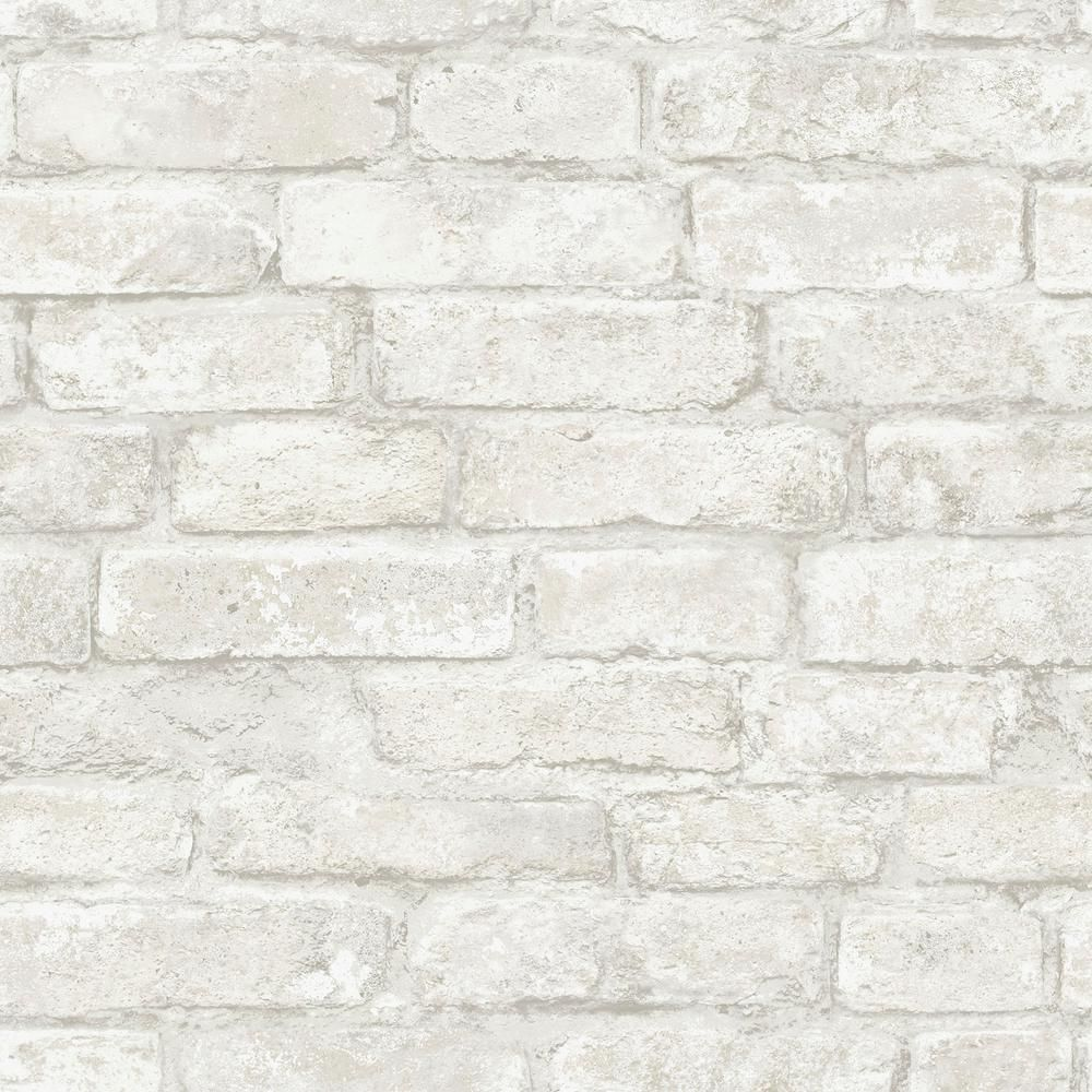 Inhome White Denver Brick White Textured Vinyl Strippable Roll Covers 28 2 Sq Ft Nhs3709 The Home Depot White Brick Wallpaper White Textured Wallpaper Brick Wallpaper