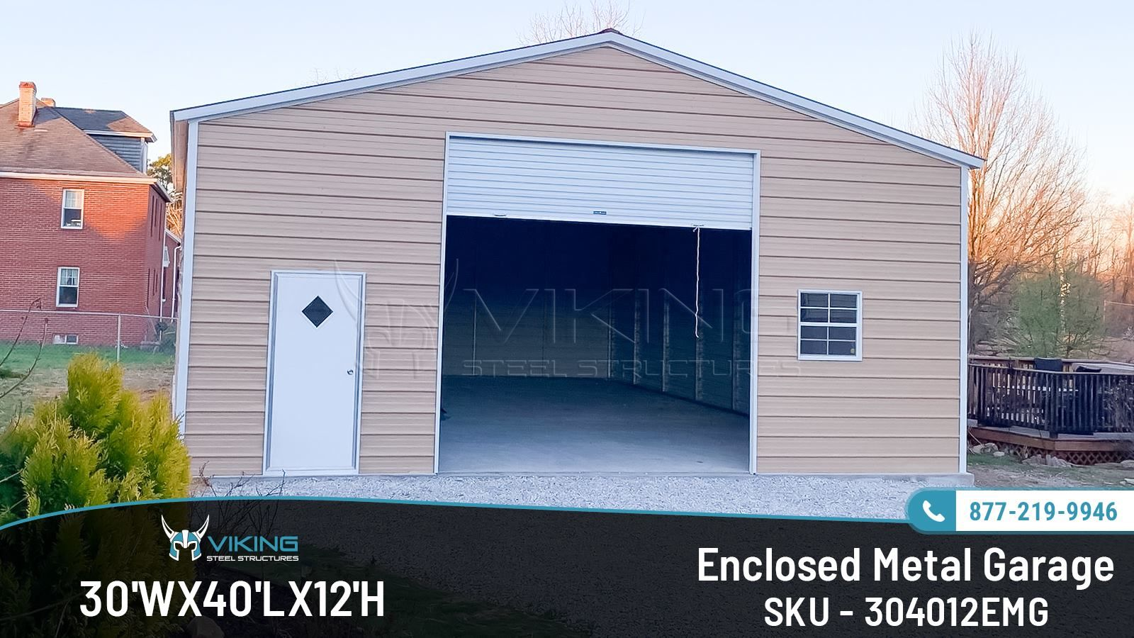 30x40x12 Enclosed Metal Garage Metal Garages Custom Metal Buildings Roof Styles