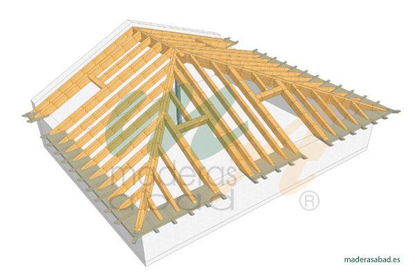 Estructura de madera para cubierta a tres aguas Maderas Miguel - isolation phonique maison mitoyenne