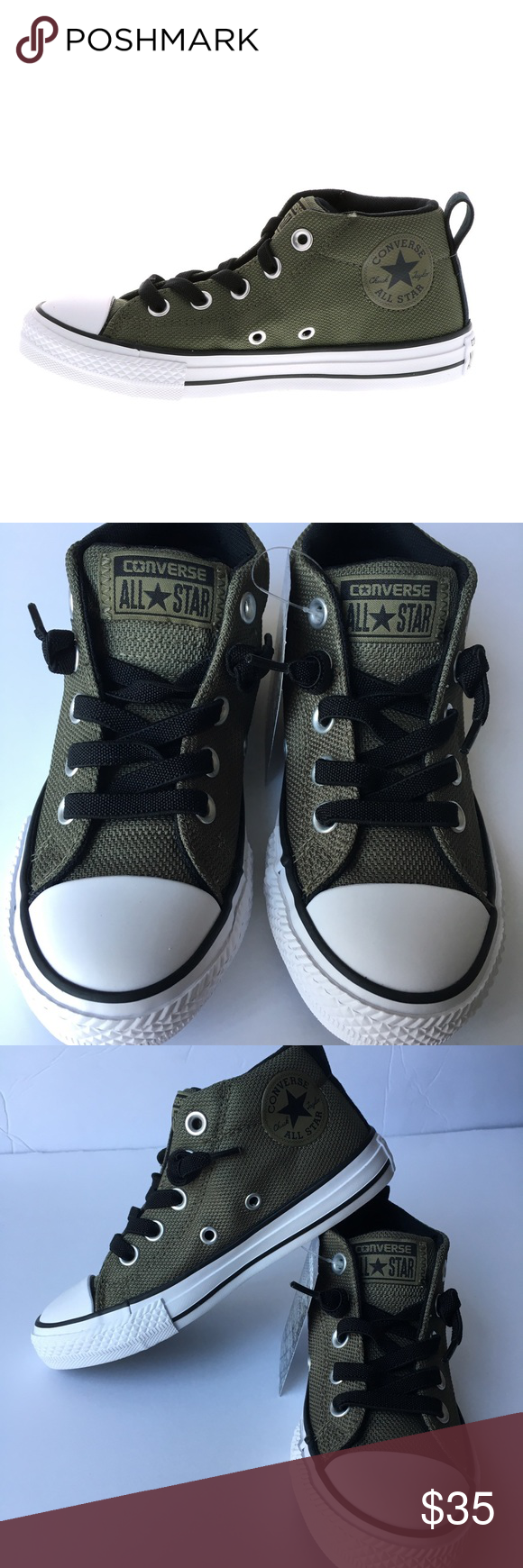 7a5e98059a40 Converse Chuck Taylor All Star street mid NWT Converse CTAS Street Mid  Medium Olive Black White Size 12 Junior Converse Shoes Sneakers