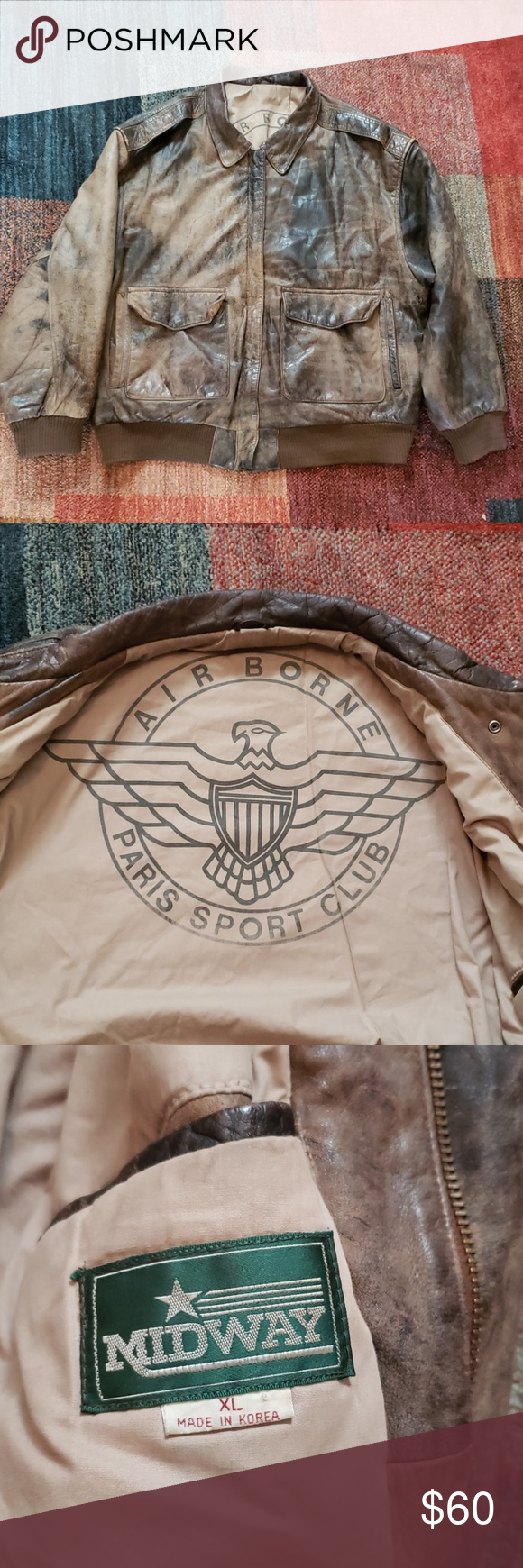 Midway Airborne Paris Sport Club Leather Jacket Xl Brown Distressed Looking Leather Bomber Jacket From Airb Leather Bomber Jacket Leather Jacket Leather Bomber [ 1740 x 580 Pixel ]