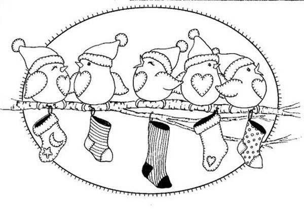 Recursos educativos - Dibujos para colorear Navidad - Pajaritos ...