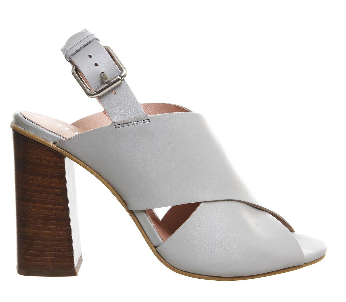 Office Token Cross Vamp Flare Heels Grey Leather - High Heels