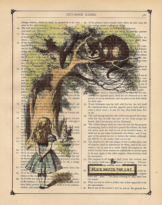 DELIGHTFUL ALICE IN WONDERLAND BOOK PAGE FRAMED ART CANVAS ARTWORK PICTURE #3 Art Prints