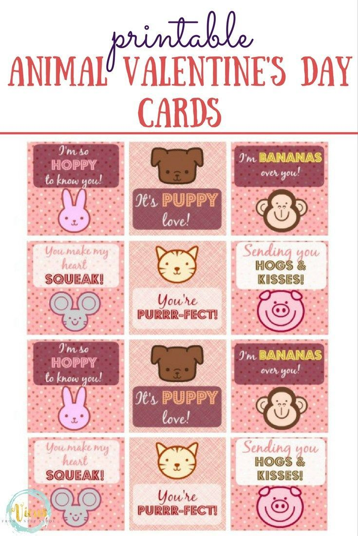 Printable Animal Valentine S Day Cards Animal Valentine Valentines Sayings For Kids Valentine Day Cards