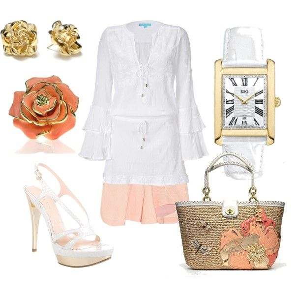 Floral Fun in Blush, created by pwatches on Polyvore, featuring ESQ Swiss by Movado watch: http://www.princetonwatches.com/shop/07101382.asp