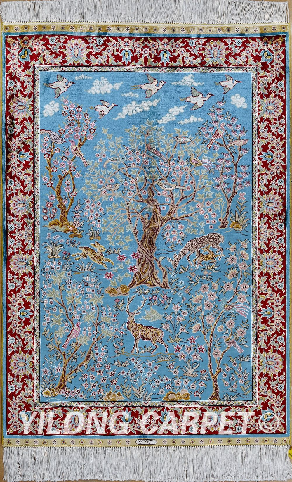 Blue Persian rug Oriental Turkish carpet silk rug Tabriz rugs hereke ...