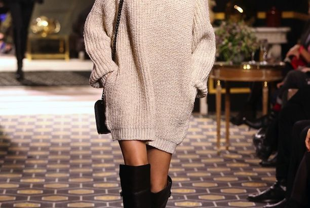 Andreea Diaconu | Sweater Dress + Over-The-Knee-Boots
