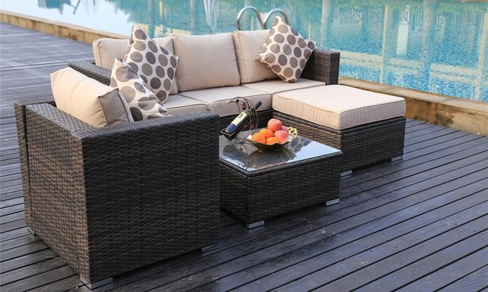 Vancouver Five- or Eight-Seater Rattan Garden Sofa Sets ...