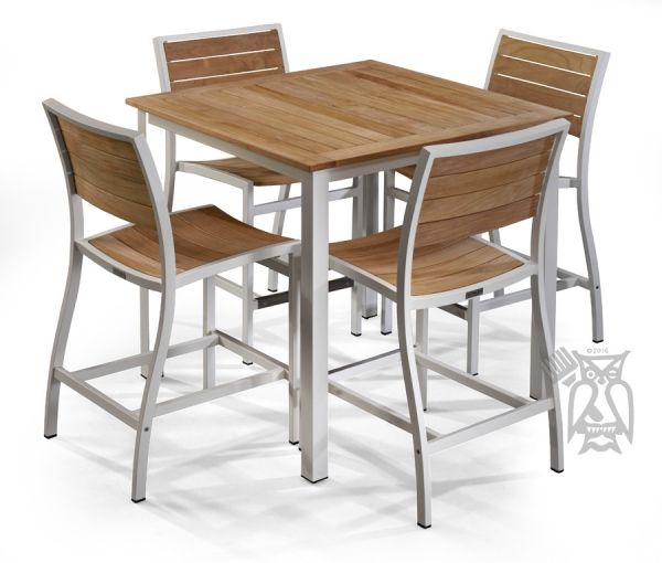 Patio Furniture Redwood City: Solid Teak Soho Counter Height Square Table & 4 Stools In