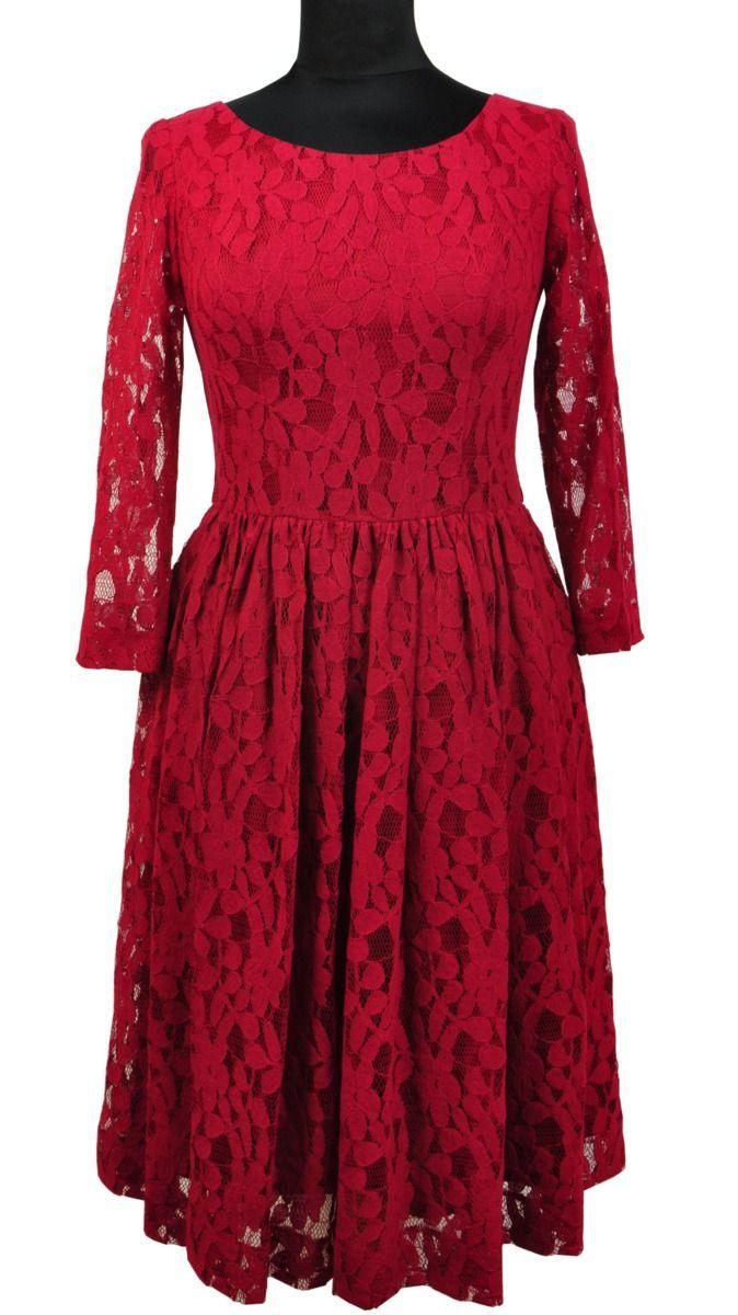 Koronkowa Sukienka Wieczorowa Bialcon B4 869 52 Prom Dress Inspiration Long Sleeve Dress Red Lace Dress