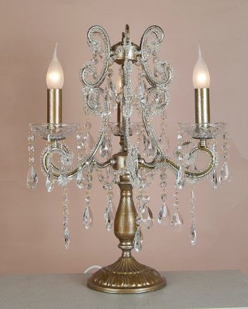 Gorgeous Chandelier Table Lamp With Antique Gold Frame Adorned With