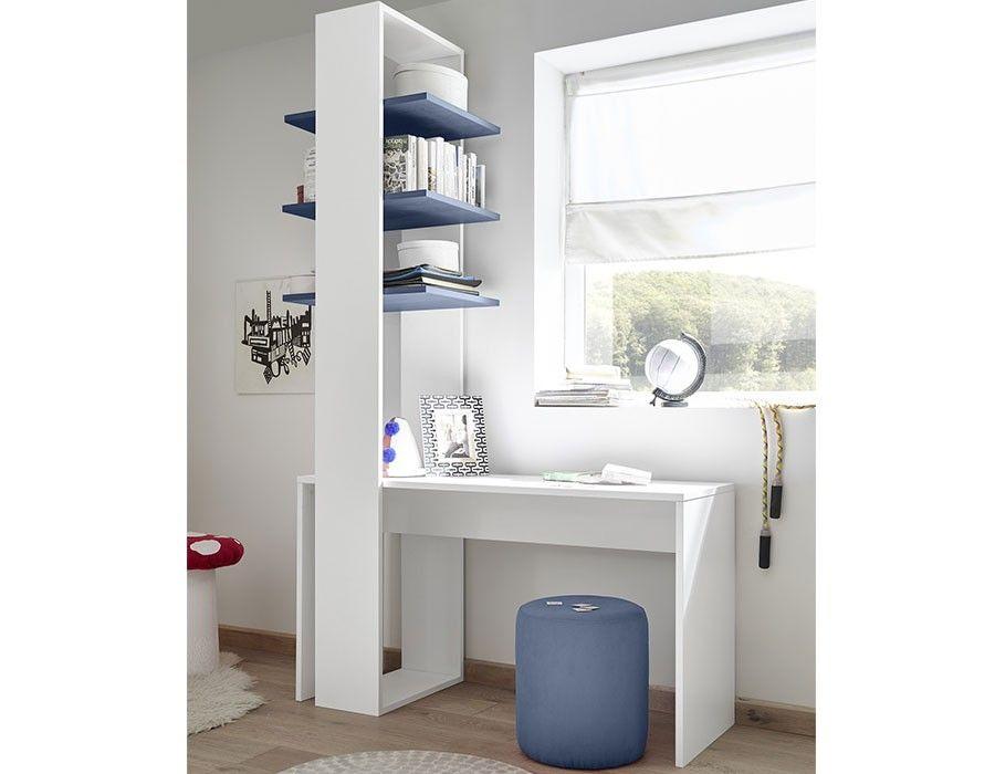 Bureau design blanc avec étagères bleues en option natheo