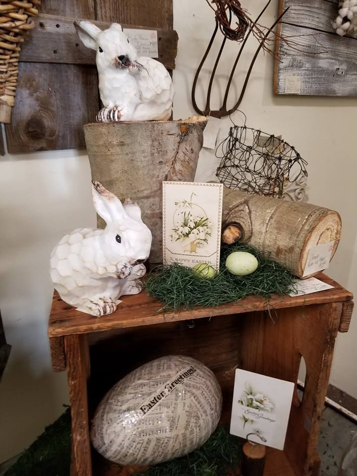 Cute little bunnies and sparkly eggs. Spring decor