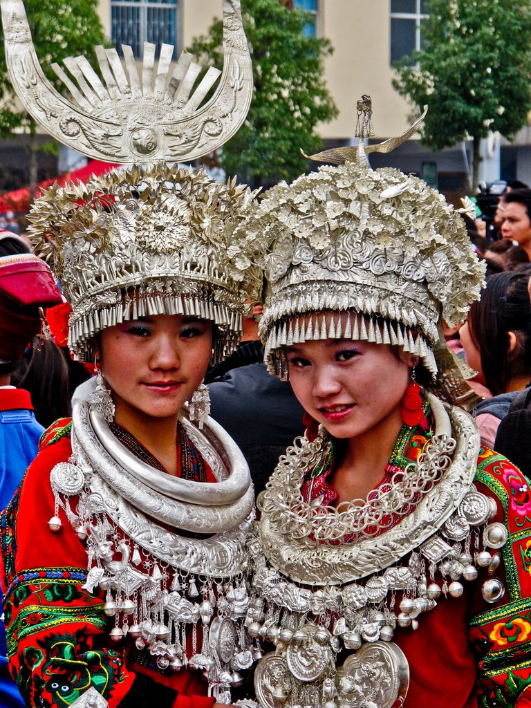 China | Two girls participating at the Lusheng festival - Guizhou province | © Jerome Lachiver.
