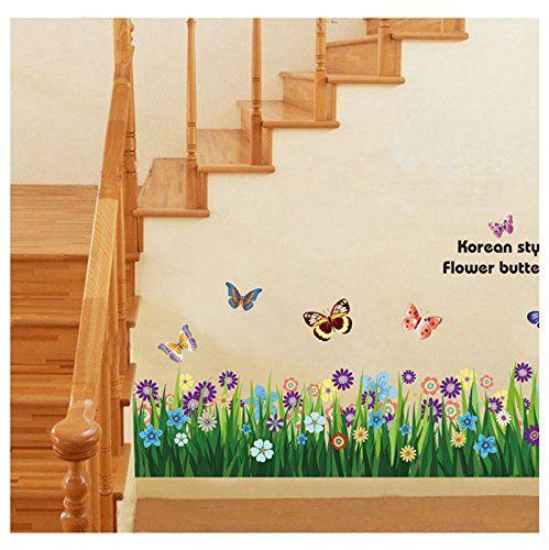 Schmetterling und Blumen Wandtattoo Wandaufkleber Wandsticker - amazon wandbilder wohnzimmer