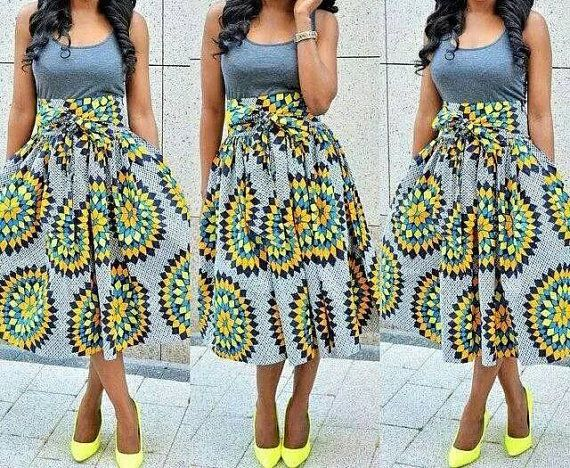 African Clothing African Skirt African Fabric High Waist Midi Classy African Skirts Patterns