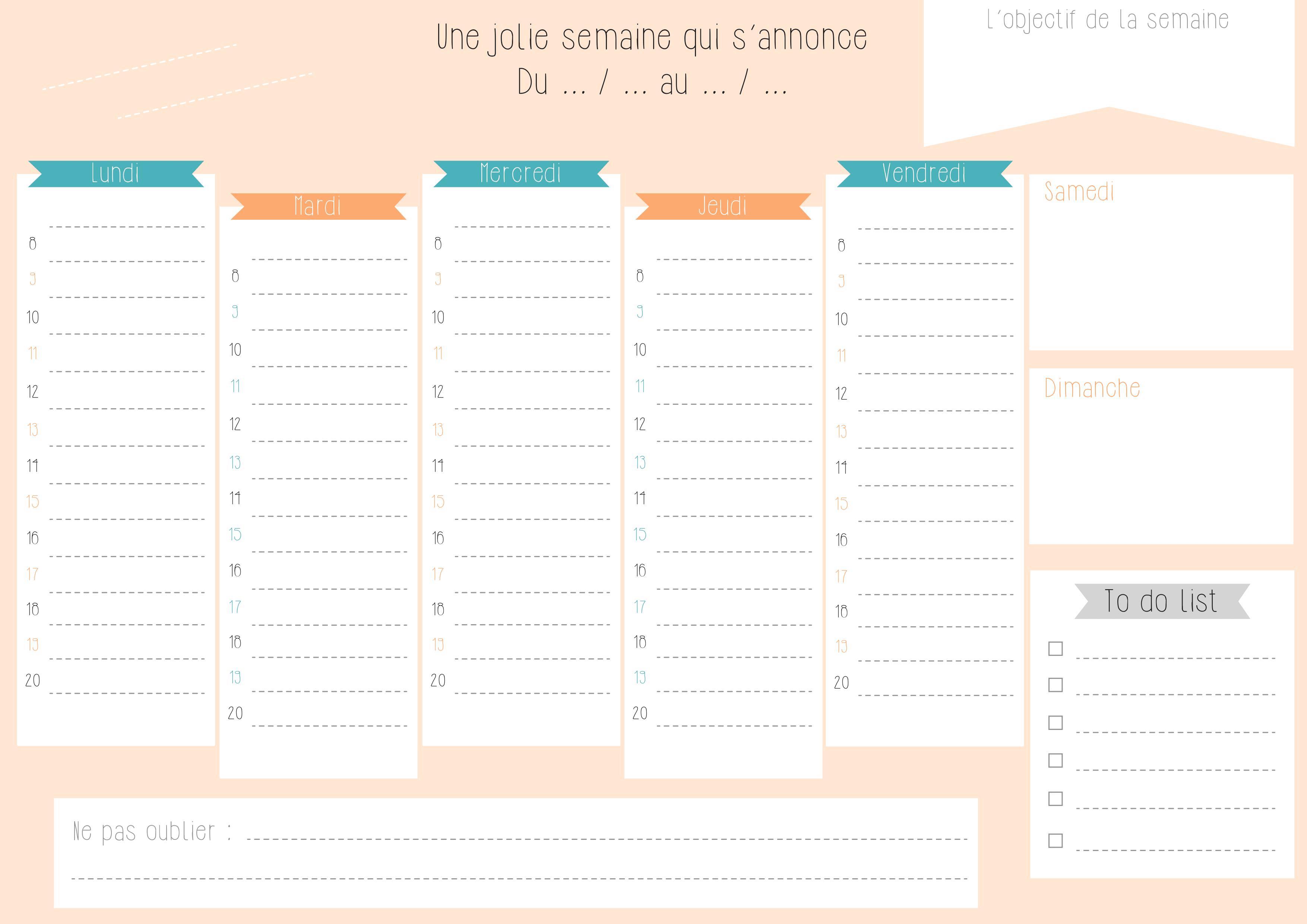 agenda planificateur de semaine gratuit bidouilles