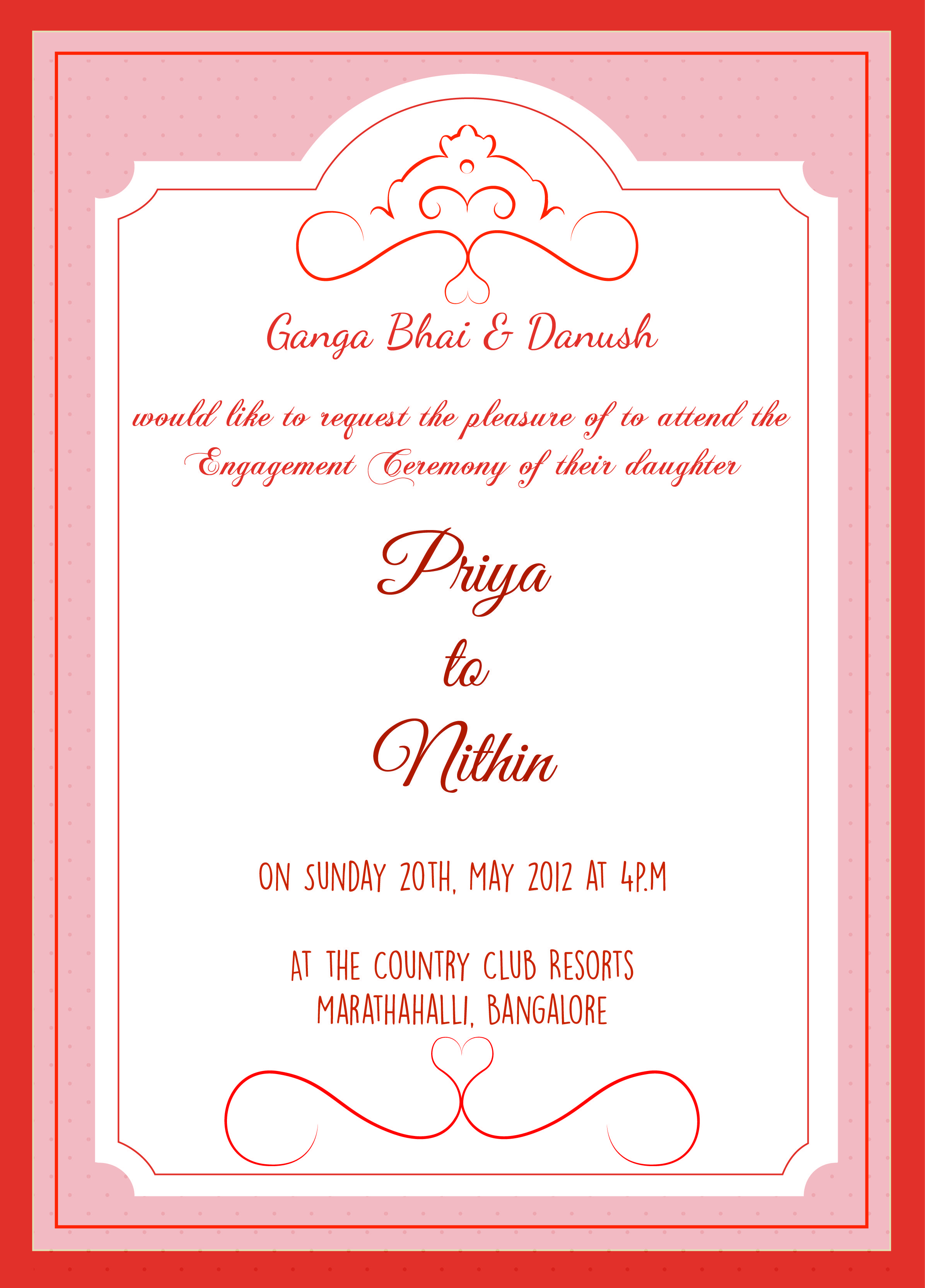 Engagement Ceremony Invitation Card With Wordings Check It Out