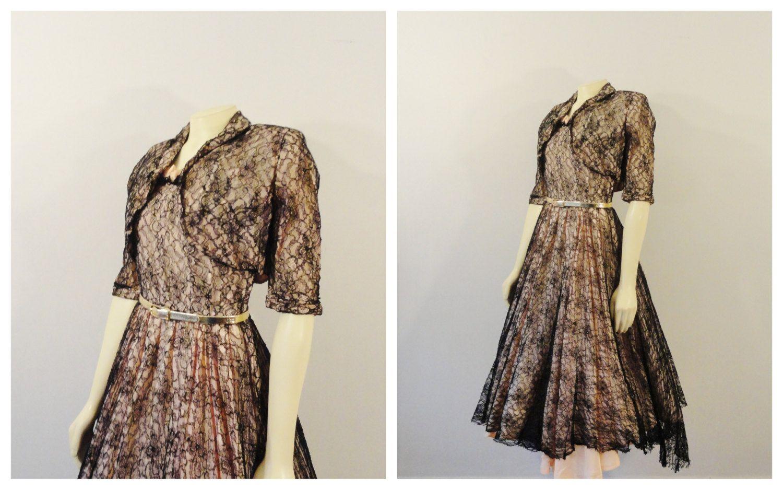 Pink lace dress with jacket  Vintage Dress s Chantilly Lace Dress u Bolero Jacket Pale Pink and