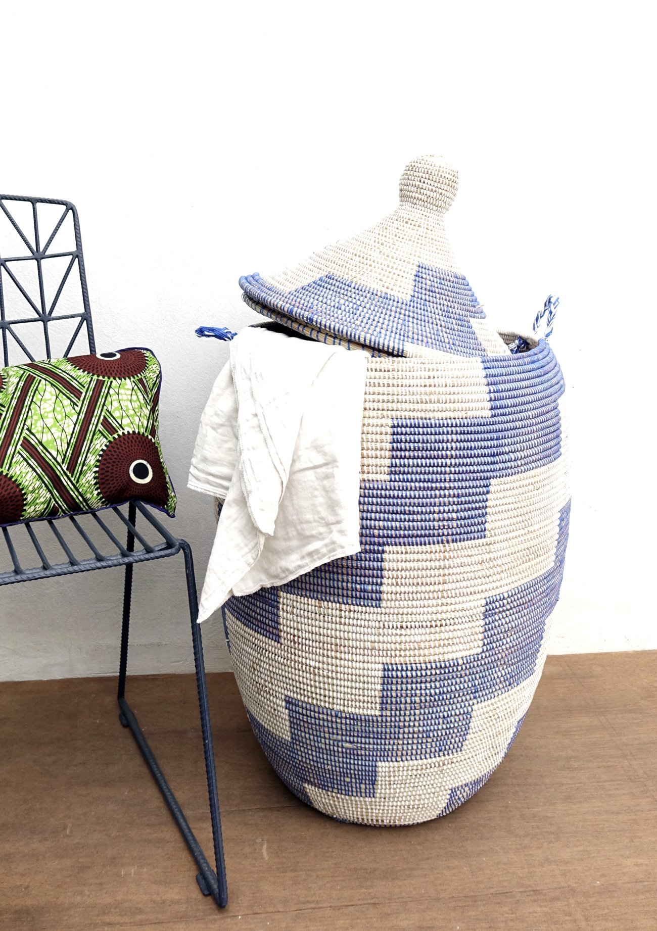 Laundry Basket Giant In Blue White Hamper